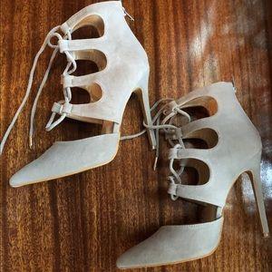 Lace up stilettos heels grey velvet suede